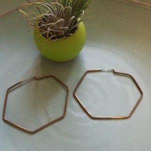 Bronze hexagon hoops